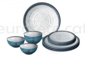 Vajilla melamina gris y azul 12 piezas Brunner antideslizante para caravaning o nautica 0