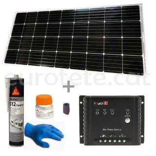Placa solar 170 watts 150 x 67 cm amb regulador MPPT per autocaravana