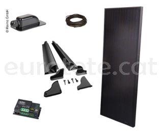 Placa solar 120 watts 145 x 55 Full Black alt rendiment amb regulador Duo digital per autocaravana