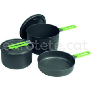 Ollas y sarten negro y verde con set de 5 piezas con asa plegable para menaje cocina camper autocaravana 1