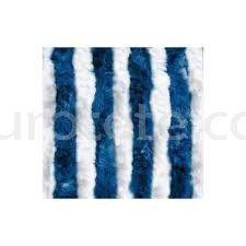 Cortina 56 x 200 blanco y azul medio para puerta entrada autocaravana 1
