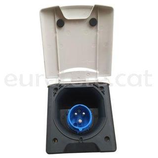Toma corriente IP44 16A 220V con tapa cuadrada blanca para electricidad 1