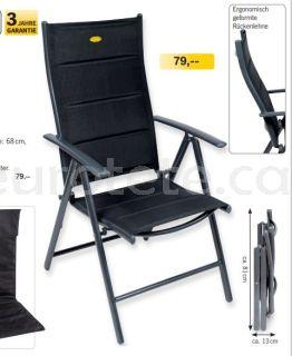 Silla camping Ischia 81 x 57 x 12 plegable negro confort autocaravana 1
