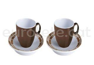 Taza cafe espresso marron y blanco con 2 unidades para autocaravana o camping 1