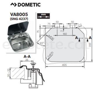Dometic SNG 4237 fregadero con tapa de vidrio autocaravana 2