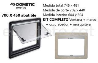 Finestra 700 x 450 Dometic S4 abatible Kit marc + enfosquidor + mosquitera 1