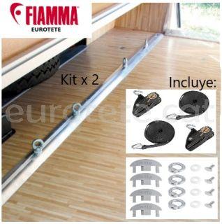 Fiamma 2 barres de 2 metres + 8 traus + corretges Garatge-Bars Premium autocaravana 1