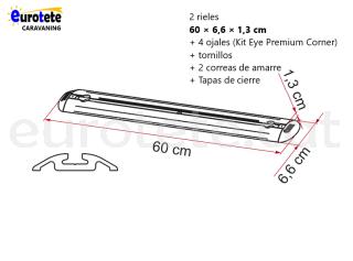 Fiamma 2 barres de 60 cm + 4 traus + 2 corretges de Garatge-Bars Premium autocaravana 1