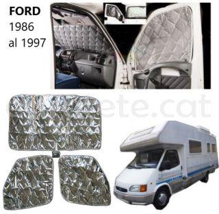 Ford transit 1986 -1997 oscurecedor termico interior para frontal y 2 puertas autocaravana 4