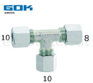 10 mm - 10 mm - 8 mm en T racord gas Gok autocaravana 1