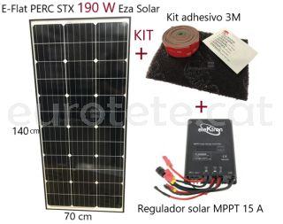 Placa-solar-190-watts-alt-rendiment-regulador-MPPT-15-amperes-monocristalina-autocaravana-1