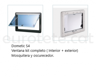 Ventana 900 x 600 Dometic S4 abatible Kit marco + oscurecedor + mosquitera 1