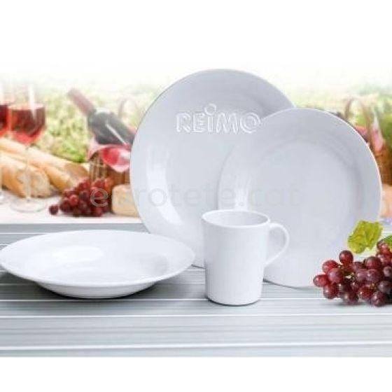 Vajilla blanca luxe de melamina con 16 piezas para autocaravana 1