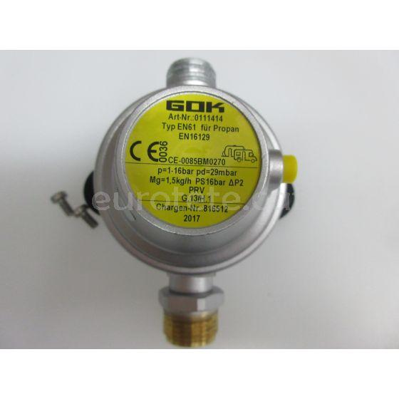 Regulador gas Gok EN61 para autocaravanas y caravanas 1