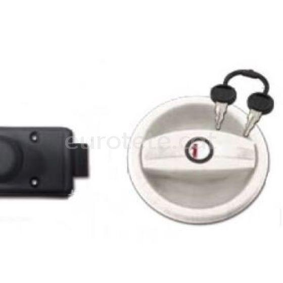Cerradura Zadi 9301 blanco circular con mordaza interna negro 18 sin llaves ni cilindro para autocaravana caravana