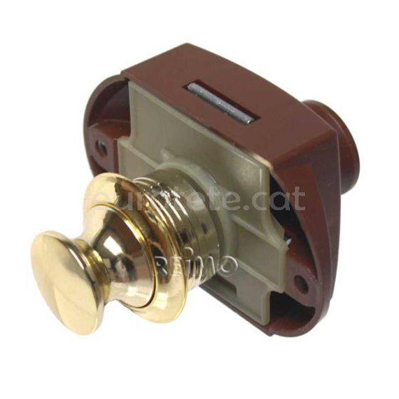 Cierre push lock doble marron con pulsador dorado y marron 1